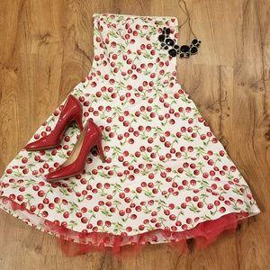 Cherry Pattern Dress w/ Tulle underlay